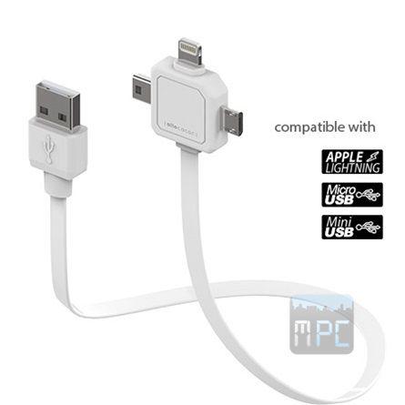 Allocacoc Power USB Lightning USB micro A USB mini A USB A M/M adatkábel 0.8m fehér